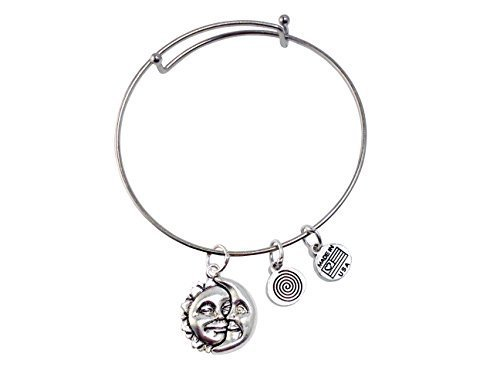 Sun and Moon Silver Bangle Bracelet