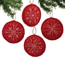 Department 56 Modern Merriment Red Stitched Snowflake Ornament