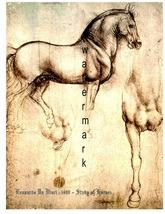 Leonardo da Vinci Vintage (1490) Study of Horse... - $19.95