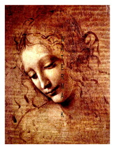 "Leonardo da Vinci ""portrait of a Woman"" Vintage 13 x 10 in Giclee CANVAS... - $19.95"