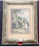 Antique Victorian Jewelry Box Glass Handcolored Print Hinged Lid Mirror - $24.90