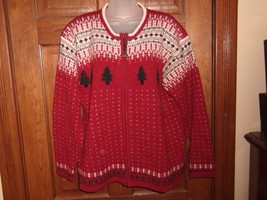 Woolrich Red, White & Green Winter Holiday Theme Zip Front Wool Sweater ... - $21.03