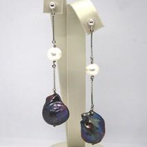 Dangle earrings 18k white gold, venetian chain, black pearl baroque drop - $576.85