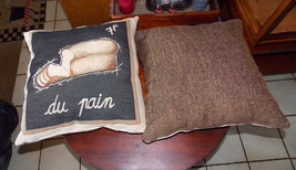 Pair of Brown Black Bread Print Throw Pillows  18 x 18 - $49.95
