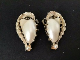 Coro Vintage Faux Pearl Clip Earrings with Silvertone Curved Leaf - $9.90