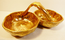 Stangl Pottery Granada hand painted Gold 3784 Double Candy Dish Bowl Wit... - $34.65