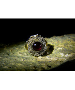 RESERVED! DEMONIC RED DRAGON WEALTH PROTECTION Gold Silver Garnet Ring haunted - $212.00