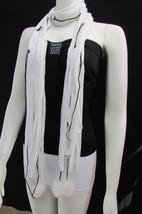 New Women Fashion Soft White Fabric Scarf Mini Faux Fur Balls Black Chains - $27.54