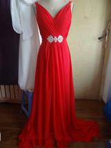 Long Red Evening Dress V-neck Women Prom Dresses  - $139.00
