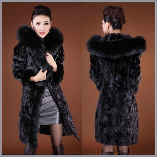 Black Long Sleeved Hooded Collar Mink Faux Fur Knee Length Parka Fashion Coat