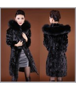 Black Long Sleeved Hooded Collar Mink Faux Fur Knee Length Parka Fashio... - $263.95