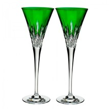 Waterford Lismore Pops Emerald Toasting Flute Pair #40019533 Brand New - $164.09