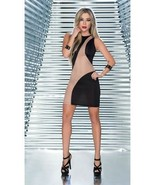 Sexy Sleeveless Black & Nude Mesh Mini Dress Clubwear Espiral 4357 - $24.99