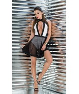 Black & White Plunge Neck w/ Mesh Over Skirt Dress Clubwear Mapale 4358 - $19.99