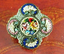 Antique micromosaic brooch flower brass Made in Italy Pin  multi colored... - $85.00