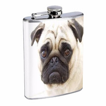 Dog Pug 04 cute Stainless Steel Flask 8oz Hip Silver Whiskey Drinking Brandi - $12.82