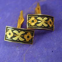 Fancy wedding Cufflinks Damascene Vintage Gold Filled  Fine cuff links Jewelry a - $85.00