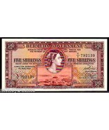"BERMUDA P18b ""QUEEN ELIZABETH II"" 1957 5/- SHILLINGS RAW UNCIRCULATED!  - $295.00"