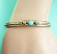 Turquoise & Silver Cuff Bracelet Vintage Silver 10.0 Grams Size 5 1/4 in... - $85.00