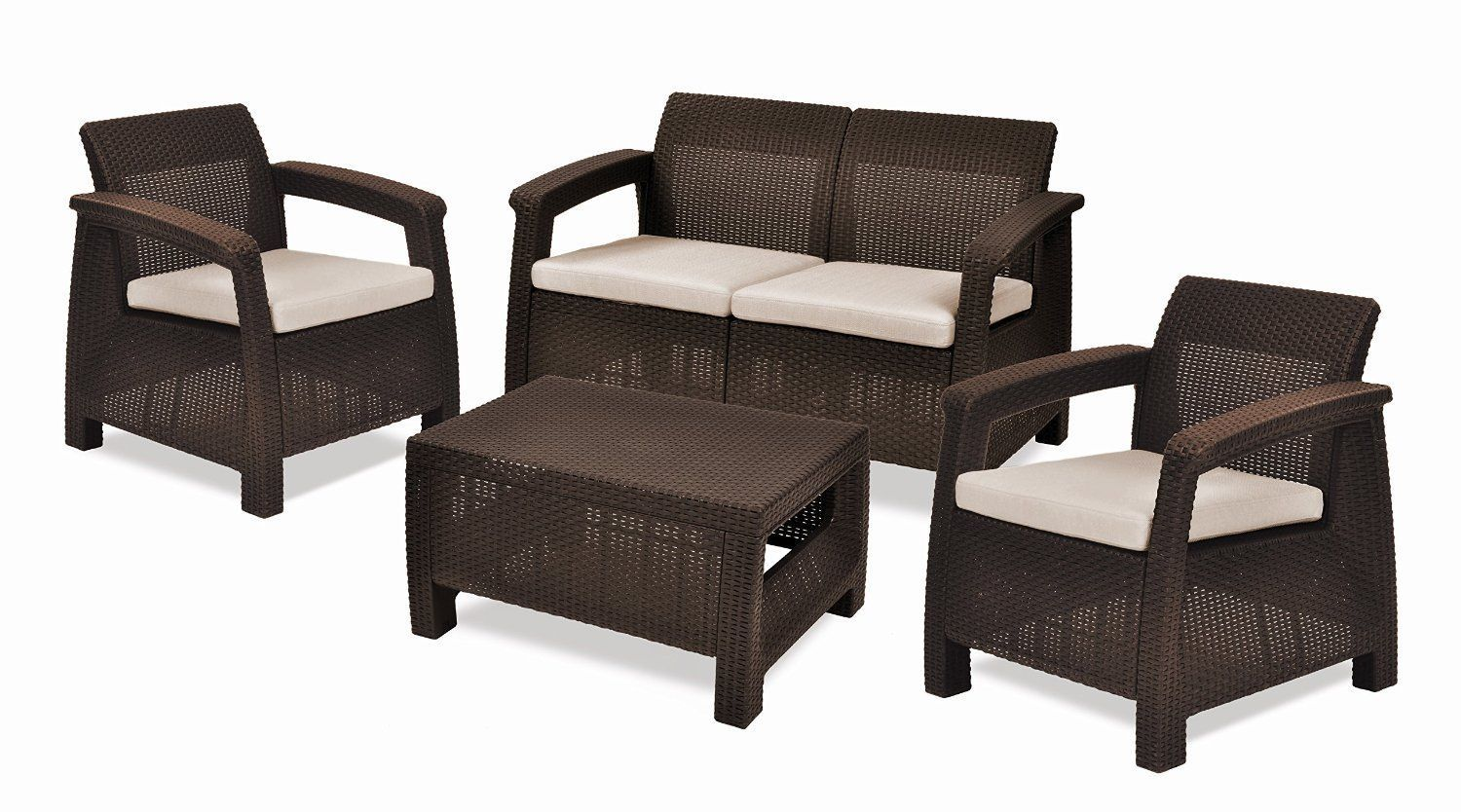 Keter Corfu Outdoor Furniture Complete 4-Pc. Set Pool