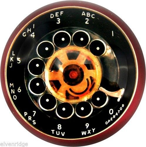 Exquisite Rotary Phone Dial Image Glass Paperweight in Handsome Gift Box