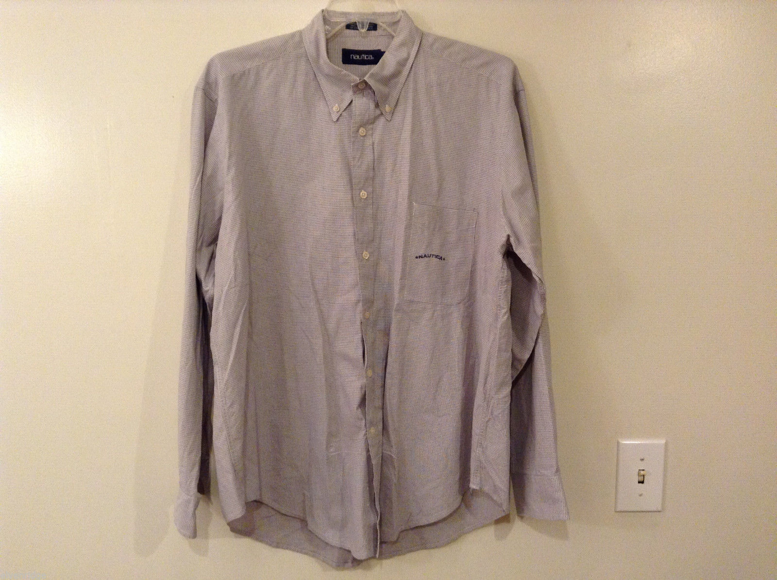Nautica Men's Size 2XL Dress Shirt White Button-Down Collar Gray Blue Grid Check