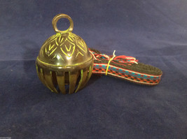 "Ornate Tibetan Cowbell Cow Bell w/ Colorful Hand-Woven Strap 3.25"" X 2.25"" #3"