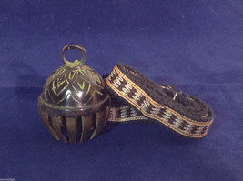 "Ornate Tibetan Cowbell Cow Bell w/ Colorful Hand-Woven Strap 3.25"" X 2.25"" #4"