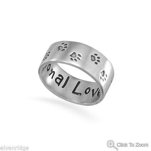 Oxidized Sterling Silver Paw Print Band Ring with Unconditional Love engraved