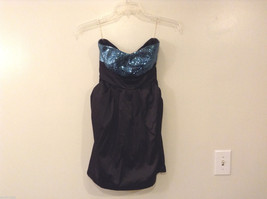Ruby Rox Juniors' Size 9 Black Prom Party Dress Blue Sequin Sweetheart Bandeau