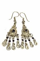 Vintage Moroccan Berber Tribal Metalwork & Black Stones Pendant Earrings - $10.88