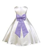 Ivory A-line Satin Flower Girl dress pageant wedding bridal recital tiebow 821T - $39.99