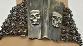 RARE Antique Victorian silver MEMENTO MORI skulls ladies bracelet c1870s - $900.00