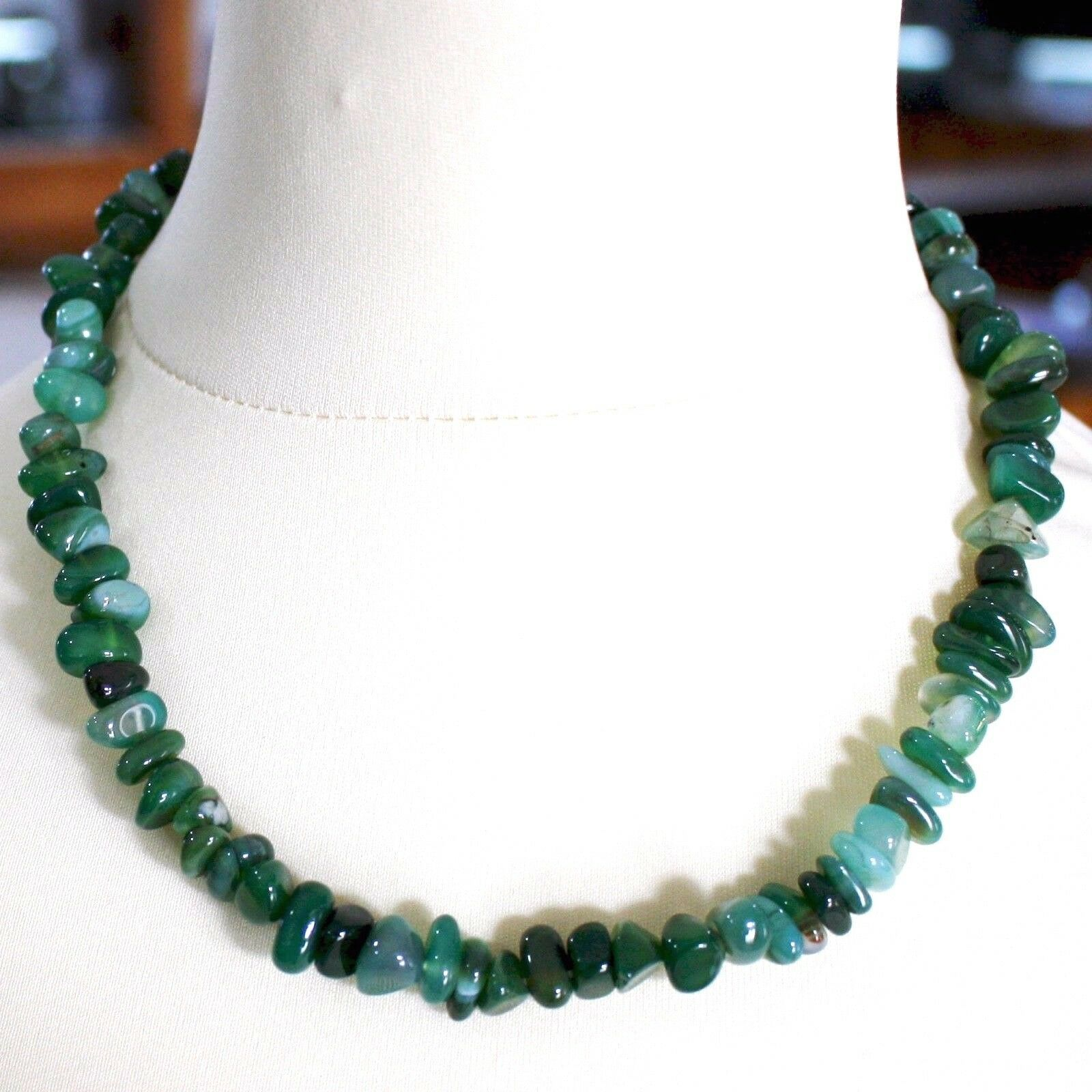 Silver Necklace 925 with Agate Green Banded, 50 or 75 cm Length