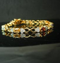 Vintage gold Sterling Bracelet Mothers Multi Gemstones with beautifully ... - $85.00