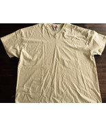 Vintage Hanes V-neck T-shirt Blank yellow Mint 2XL Made in USA - $8.54