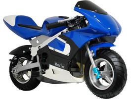 MotoTec 33cc 2-Stroke Air Cooled Blue Gas Pocket Bike EPA Kid Motorcycle  - $355.41
