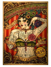 Chapel Tattooed Lady Advertising 13 x 10 inch Giclee CANVAS Print  Style-2 - $19.95
