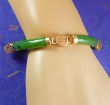 Vintage JADE Bracelet oriental Good luck chinese Asian talisman bangle l... - $85.00