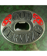 HUGE Got Cerveza Belt Buckle Beer drinkers Bartender High roller Gambler... - $55.00