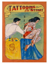 Tattooing by Stoney Vintage Advertising 13 x 10 inch Giclee CANVAS Print - $19.95
