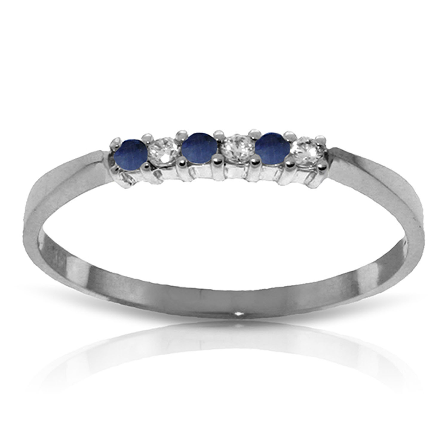 0.11 CT 14K Solid White Gold Sapphire Natural Diamond Ring