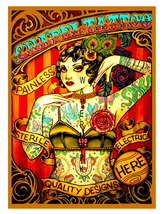Chapel Tattoo Colorful Vintage 13 x 10 inch Advert Giclee CANVAS Print  ... - $19.95