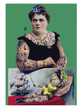 Tattooed Woman Holding Tattoo Picture 13 x 10 inch Giclee CANVAS Print  ... - $19.95