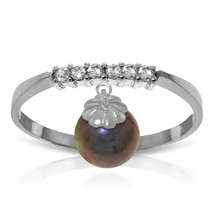 2.1 CT 14K Solid White Gold Ring Natural Diamond Dangling Black pearl - £177.89 GBP