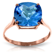 3.6 Carat 14K Solid Rose Gold Ring Natural Checkerboard Cut Blue Topaz - £179.64 GBP