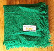 "Vintage ECHO Scarf-100% Wool-Made in Western Germany-23x23""-Green - $32.71"