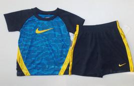 Nike Infant Boys T-Shirt & Shorts Set Blue Yellow Black Sizes 18M & 24M NWT - $20.99