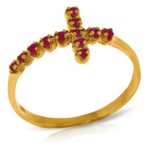 Brand New 0.3 Carat 14K Solid Gold Cross Ring Natural Ruby - $212.22