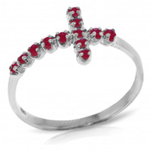 Brand New 0.3 CTW 14K Solid White Gold Cross Ring Natural Ruby - $217.22